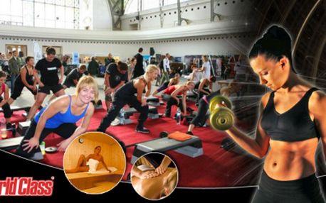 Cenová BOMBA! Vstup do WORLDCLASS Fitness, jednoho z nejluxusnějších fitness v Praze! Neomezeně posilovna, 30min luxusní masáž, skupinové lekce typu Kickbox nebo Dance a také sauna! Původní cena 1250 Kč, nyní neskutečných 375 Kč!
