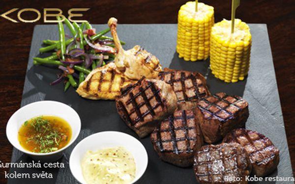 995 Kč (běžná cena 1990 Kč) za 700 g masových specialit nejlepší kvality v restauraci Kobe! Vychutnejte si svíčkovou z legendárního plemene Wagyu, nízký roštěnec a svíčkovou z plemene Aberdeen Angus z Jižní Ameriky, kuřecí prsa. Dokonalý gurmánský zážitek!
