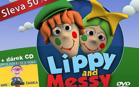 Výuka angličtiny pro děti v pohádkovém světě klaunů Lippy and Messy. Jen 1249 Kč za čtyři DVD filmy populárního seriálu pro děti v předškolním věku po 50% slevě.