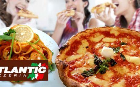 Milujete italskou kuchyni? Přijďte si pochutnat a využít skvělou slevu do pizzerie Atlantic! Pizza nebo těstoviny dle Vašeho výběru za skvělých 99 Kč pro 2 osoby!