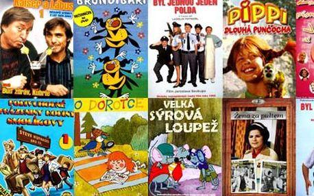 Dvacet filmových DVD včetně poštovného – české komedie a oblíbené pohádky. Kaiser a Lábus, Žena za pultem, Byl jednou jeden polda, Podivuhodné prázdniny rodiny Smolíkovy...