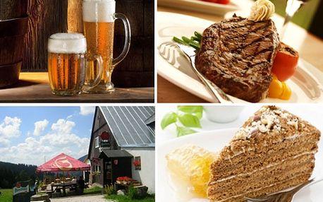 390 Kč za krkonošské menu v Boudě Míla pro 2 Zelňačka, vepř.steak se zeleninkou, domácí medovník, 0,5l piva a grogy! Máte zakoupený poukaz na pobyt do Boudy Míla nebo do Krkonoš? Zpestřete ho dalším a zajistěte si mimo ubytování i skvělé jídlo pro 2! Jen nyní na SlevmeTo sleva 50% na slavnostní obídek v Boudě Míla zařízené v klasickém krkonošském stylu!
