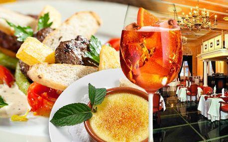199 Kč za vynikající menu v luxusním Restaurantu Goethe. Jemný aperitiv, vepřové medailonky s bramborovým rösti a crème brûlée.