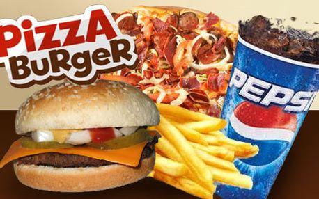 Nechce se vám vařit, ale chcete se královsky najíst? Využijte nabídku supermenu až domů - 2 pizzy, 2 cheeseburgery a 2 nápoje 0,4l za pouhých 189 Kč s HyperSlevou 50 %