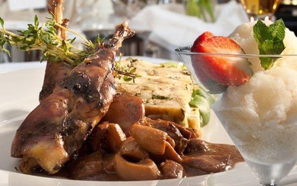 6chodové degustační menu PRO DVA. Srnčí terina, kohout na víně s bramborovým soufflé, limetkový sorbet a další kulinářské skvosty!