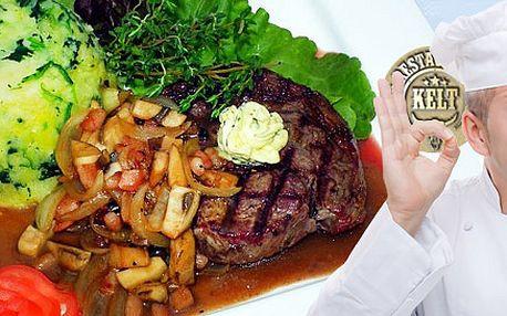 Dva šťavnaté hovězí steaky na černém pivě ve vyhlášené restauraci Kelt! 200gramová masová dobrota s přílohou dle vašeho výběru.