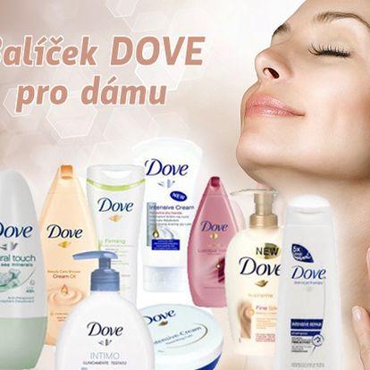 Ženy zbystřete! Neopakovatelná cena 499 Kč za balíček obsahující 10 kosmetických přípravků od značky Dove pro Dámy! Sleva 50% zkrášlí Vás, Vaši pokožku i Vaši peněženku!