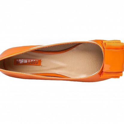 Dámské oranžové lakované baleríny Sofia Loes s mašlí