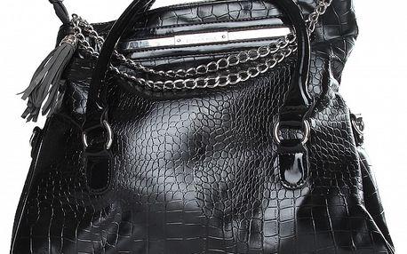 Dámská černá kabelka Enrico Coveri v efektu hadí kůže