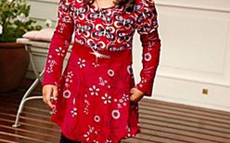 Krásné dětské šaty + legíny. Šaty jsou pestře barevné s balonovým lemem a pružnými legínami.