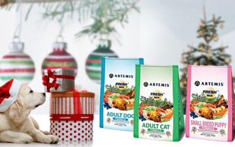 Kvalitní krmivo ARTEMIS s vysokým podílem masa dovážené z USA pro Vaše kočky a psy v balení od 8,1 kg jen za 799 Kč včetně poštovného! Veselé Vánoce pro Vaše chlupáče!