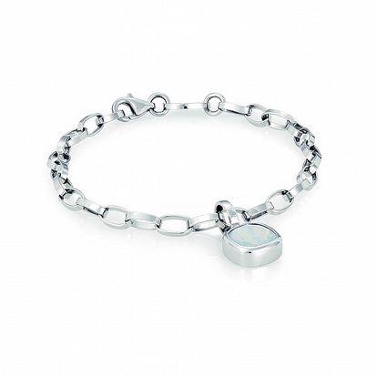 Dámský ocelový náramek Nomination s blankytně modrým krystalem
