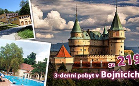 3denní pobyt pro 2 osoby v městě Bojnice včetně polopenze, návštěvy termálních koupelí, relaxace v masážních křeslech jen za 2 199 Kč v Penzionu Maxim