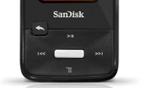 MP3 přehrávač SanDisk Sansa Clip, spolehlivý, nabitý funkcemi, 4GB, FM rádio, slot microSDHC, černý