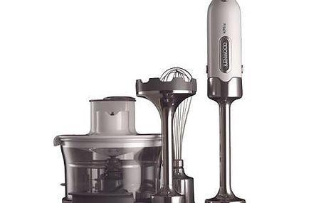Ergonomický ruční mixér s multifunkční nádobou a nástavcem pro mixování v pánvi.
