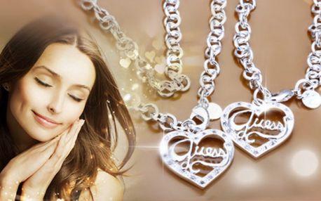 Exkluzívny nádherný set strieborného náhrdelníka a náramku značky GUESS len za 27,90 Eur vrátane poštovného! Šperky sú opuncováné logom 925! ZĽAVA 61%! Darčekové balenie zdarma!
