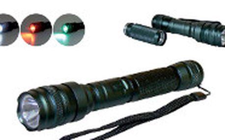 Luxusní 1W LED kovová svítilna s pouzdrem. Dlouhá doba svícení a dosvit až 37m.