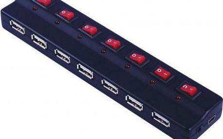 USB HUB 7-port, externí 2.0 s napájením a vypínači portů