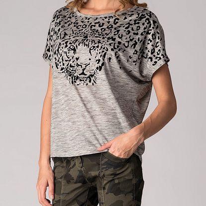 Dámské světle šedé tričko Soap Art s gepardem