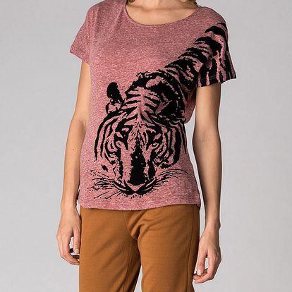 Dámské růžové tričko Soap Art s tygrem