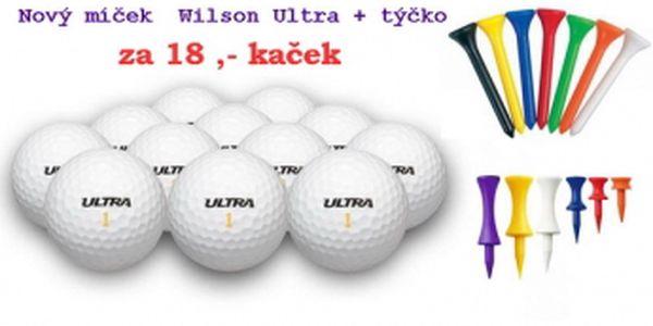 NOVÝ golfový míček Wilson Ultra za cenu hraného + 1 plastové týčko dohromady za 18 Kč. Volné balení, libovolný počet kusů.