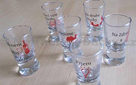 Panáky - Pijem ať žijem - 6 ks originálních pánákových skleniček