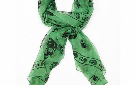 Dámsky zelený hodvábny šál Alexander McQueen s lebkami