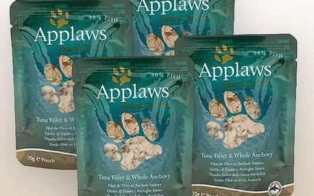 Applaws kapsičky pro kočky tuňák a celé ančovičky, 4 x 70 g