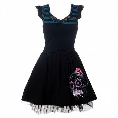Dámské černé party šaty s modrými pruhy 13 Cats
