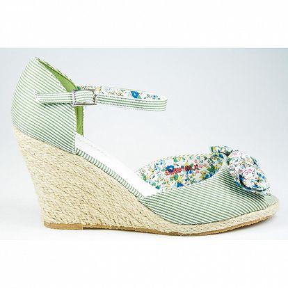 Dámské zelené proužkovaná sandály Sofiniel s jutovým klínem