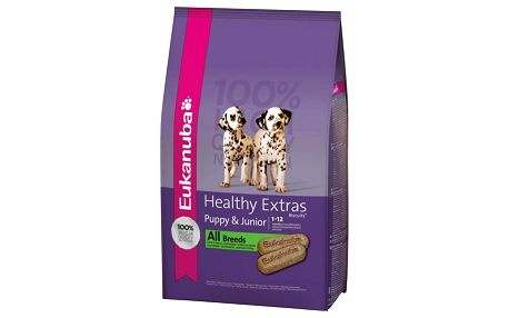 Eukanuba Healthy Extras Snack Puppy & Junior 0,7 Kg. Doplňkové krmivo pro štěňata od 1 do 12 měsíců. Obojek a pivovarské kvasnice zdarma