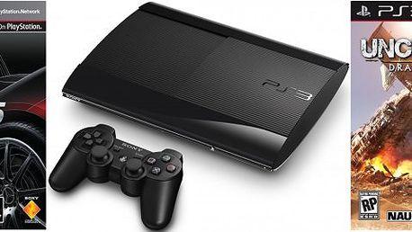 Sony Playstation 3 - 500GB SuperSlim + GranTurismo 5 a Uncharted 3