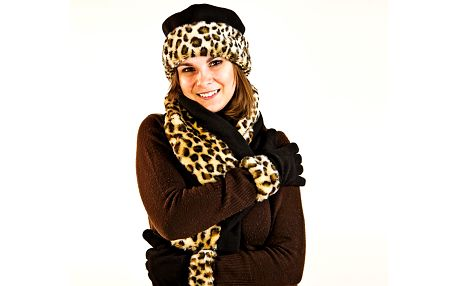 Zimní sada kloboučku, šály a rukavic Leopard
