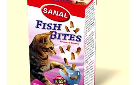 Sanal křupavé rybičky drůbeží a losos SANAL, 75g - Křupavé pamlsky pro kočky