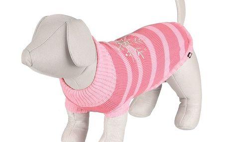 Svetr Trixie RICHMOND růžový proužek s výšivkou vločka