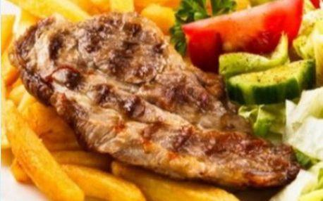 2x 250g steak z krkovice 2x příloha dle výběru a 2x dresing za 179 Kč v útulné a stylové restauraci u 3 Trojek!