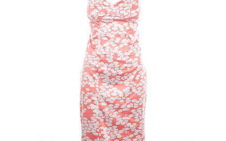 Dámské korálově červené šaty s bílým potiskem Nougat London