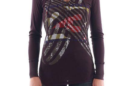 Dámské fialové tričko s barevným potiskem Nolita