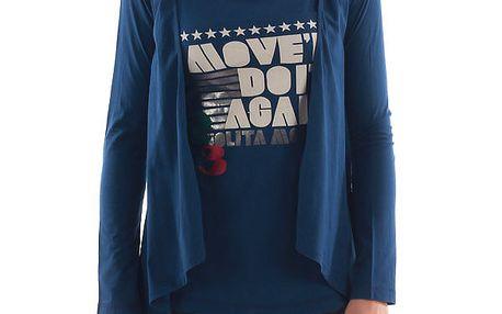 Dámské modré tričko s cípy a potiskem Nolita