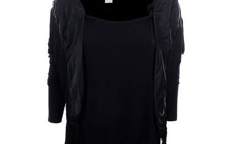 Dámské černé tričko s plédem Nolita