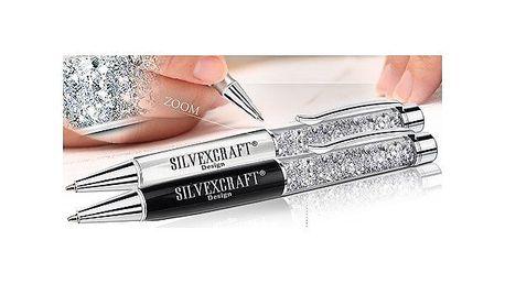 Luxusní pero s krystaly Swarovski Elements - černé