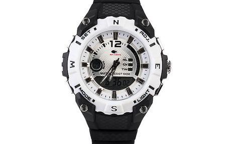 Černo-bílé analogovo-digitální hodinky No Limits