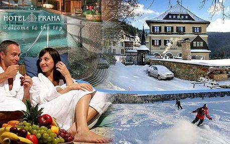Exkluzivně jen na Slever - Zimní romantika ve Špindlerově Mlýně v hotelu Praha**** s vydatnými snídaněmi, romantickou večeří s lahví kvalitního vína, celodenním vstupem do Relax&Spa centra, aroma masáží pro oba a mnohem více!