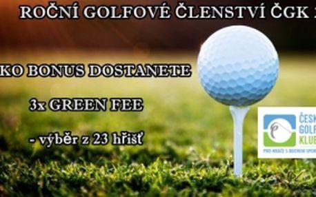 Darujte nebo získejte golfové členství Českého golfového klubu na rok 2014 + jako BONUS 3 feečka na 18 jamek, která lze využít na 23 hřištích. Užijte si slevu 65%.