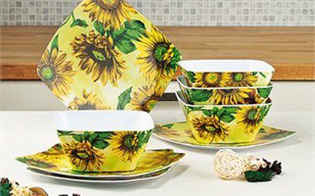 Melaminová sada čtyř misek a čtyř talířů s oblíbeným motivem slunečnice