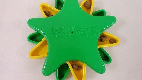 Interaktivní hračka s pamlsky, hvězdice - jednoduchá pamlsková otáčecí hra