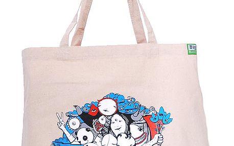 Bavlněná taška květinové děti světlá