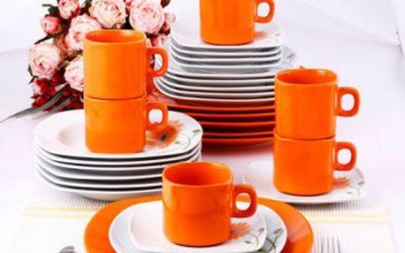 Jídelní sada talířů čtvercová 30 ks porcelánová bílá / oranžová, květina KAISERHOFF TCC-011