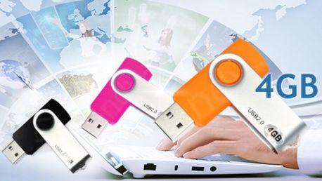Malý FLASH DISK s kapacitou 4 GB a prakticky krytým konektorem za jedinečných 149 Kč VČETNĚ poštovného! Na výběr z 6 barev! Mějte vždy po ruce dokumenty nebo fotky!