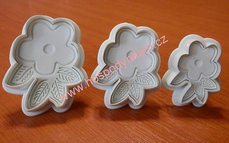 Pístový vypichovač květina, 3ks (plastový)